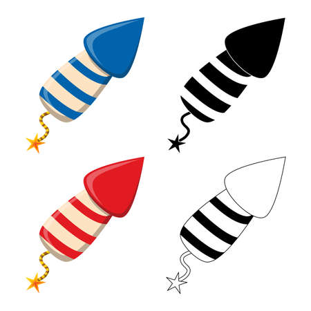 Firework rocket petard icon set. New year celebration symbol collection. Red, blue, outline and silhouette design element. Great for banner or party invitation. Vector illustration isolated on white. 向量圖像