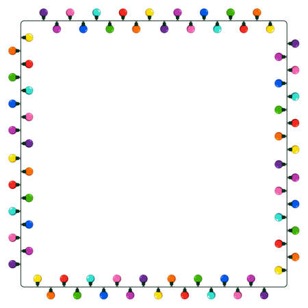 Lights string square frame with copy space. Garland festive border for christmas card or banner. Vector colorful design element isolated on white background.