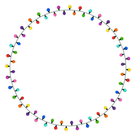 Christmas lights string circle frame. Round wreath illustration with copy space. Ring shape garland festive border isolated on white background. Vector colorful design element. 向量圖像