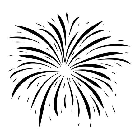 Fireworks burst black symbol. Silhouette icon of sparkle fall after petard explosion. Great for happy new year or independence day graphic design. Vector illustration isolated on white background.