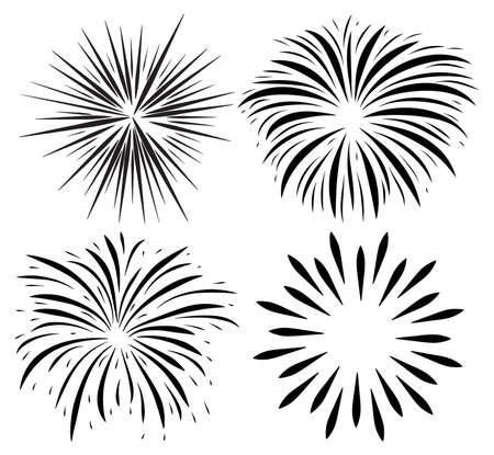 Fireworks burst silhouette icon set. Holiday sparkle fall after petard explosion. Vector collection of happy new year black symbol. Festive illustration isolated on white background. 向量圖像