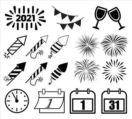New year icon, symbol set. Silhouette and outline shapes. Vector illustration isolated on white background
