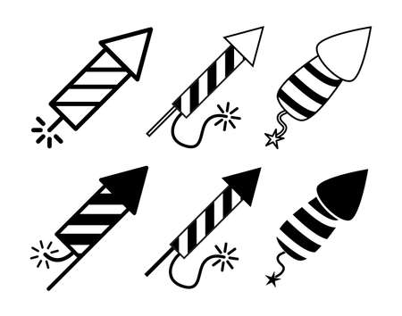 Firework rocket icon set. New year's symbol collection contains silhouettes shapes and outline designs. Vector illustration isolated on white background. 向量圖像