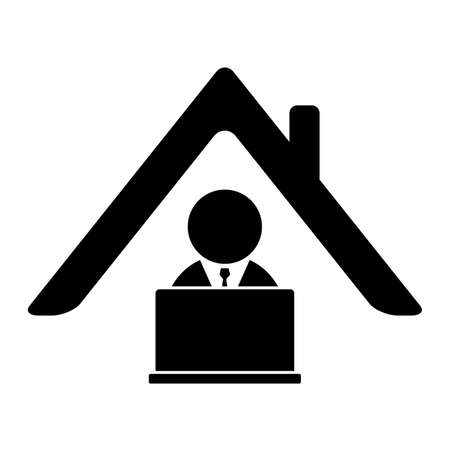 Work from home icon. Home office symbol with business man and laptop. Remote work because of social distancing during corona virus pandemic.