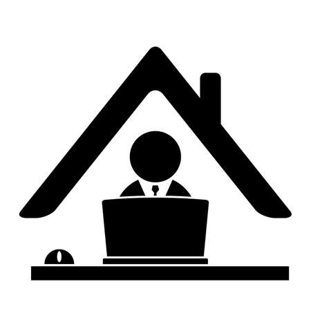 Home office icon. Remote work symbol with business man and computer. Online job concept during corona virus pandemic. Black design isolated on white background.