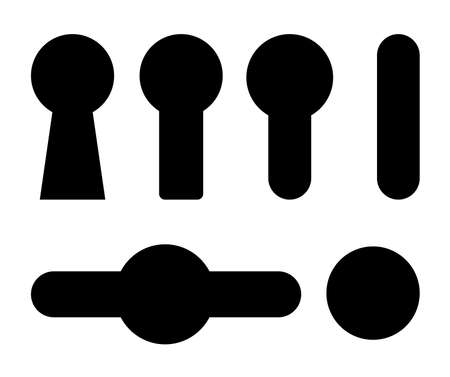 Keyhole icon set. Black shapes collections with security symbols. Concept of private and safety. Vector design isolated on white backlground.