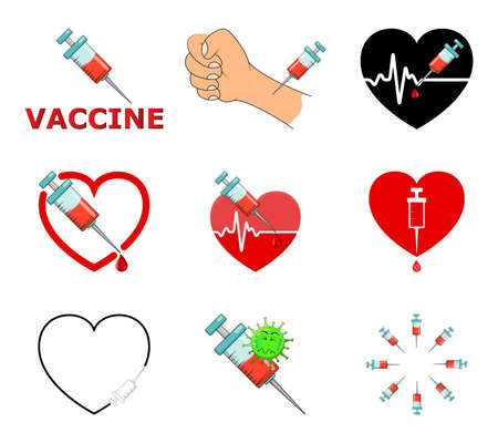 Vaccine icon set. Symbols of vaccination against covid 19. Contains designs of different injection and clip arts. Vector illustration isolated on white background.