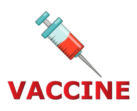Covid-19 vaccine icon. Symbol of vaccination against coronavirus. Vector illustration with syringe isolated on white background.