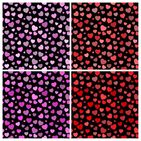 Valentines heart background. Lovely seamless pattern set with heart shapes on black background. Vector backdrop.