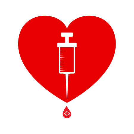 Heart and syringe with vaccine drop. Symbol of  vaccination against covid-19 or blood donation. Vector icon isolated on white background.