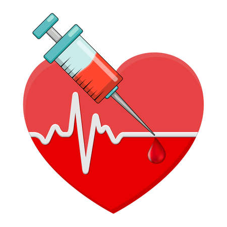 Heartbeat and syringe with blood drop. Red heart shape with vaccine in it. Vector icon isolated on white background. 向量圖像