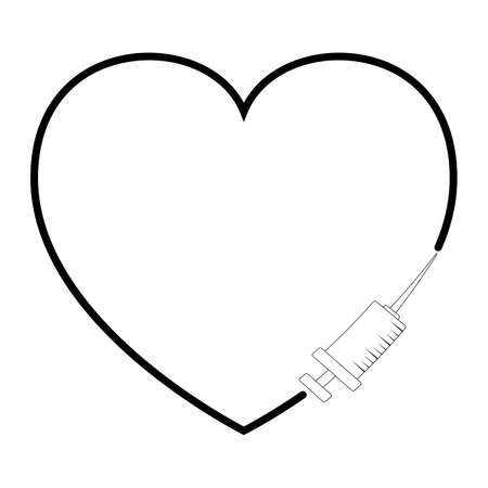 Heart and vaccine outline icon. Symbol of medical syringe in contour of heart shape. Concept of vaccination. Vector medical design isolated on white background. 版權商用圖片 - 161885518