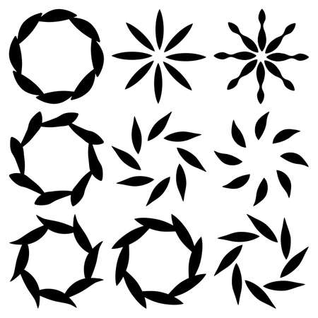 Round design elements set. Collection of floral simple frame or border wreath. Vector circle template isolated on white background. 向量圖像