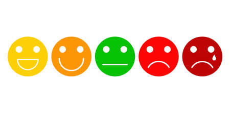 Five basic emotions emoji expressions. Scale from positive to negative. Good for customer opinion survey buttons. Vector illustration isolated on white background.
