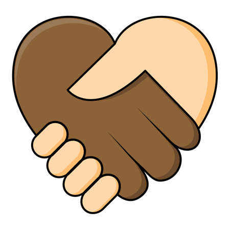 No racism - shake hand in heart shape. Two hands dark and fair skin in a handshake. Equality of races concept icon. Great also for symbol of agreement or contract between different ethnicity.