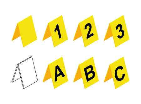 Crime scene markers design. Plastic yellow investigation label icon set with letter A, B, C and number 1,2,3. Contains also empty or blank symbol. Vector illustration isolated on white background.