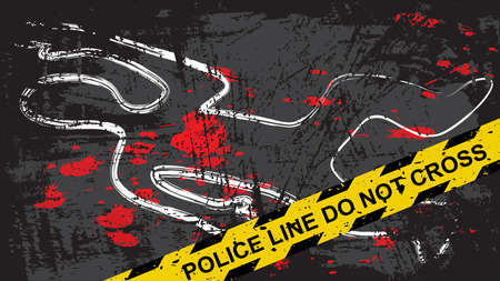 Crime scene with dead body and blood stains. Person chalk outline drawing on the asphalt. Grunge background with yellow tape with text