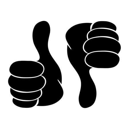 Thumb up and down silhouette icon. Black shape symbol of OK or not OK expression. LIKE or DISLIKE - social media reaction. Vector design isolated on white background.