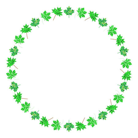 Maple leaf circle frame. Green abstract round border. Spring leaves made by circles. Vector design for springtime banner or background.