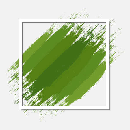 Green abstract frame in grunge style. Eco square background composition. Border design great for environmental conservation leaflet or ecologically friendly label. Vector wallpaper with copy space. Ilustrace