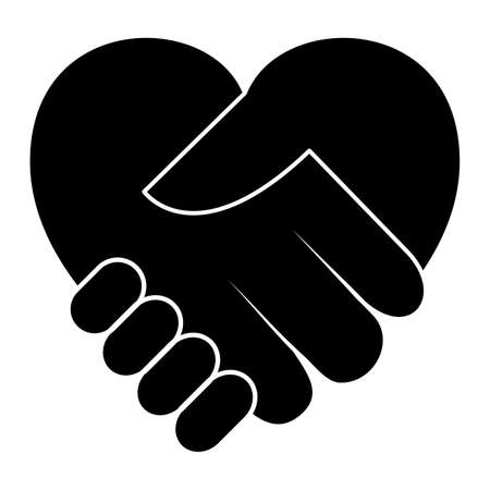 Handshake icon. Charity day concept. Black silhouette isolated on white. Stock Illustratie