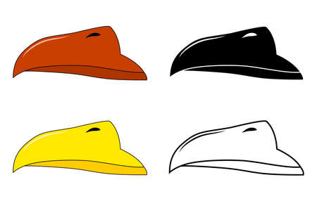 Beak of bird vector set. Illustration isolated on white background. Collection contains silhouette,outline and color drawing.