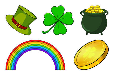 Patricks day icon set. Vector holiday collection for irish celebration. Cartoon illustration isolated on white. Contains four leaf clover, rainbow, cauldron with coins and green hat.