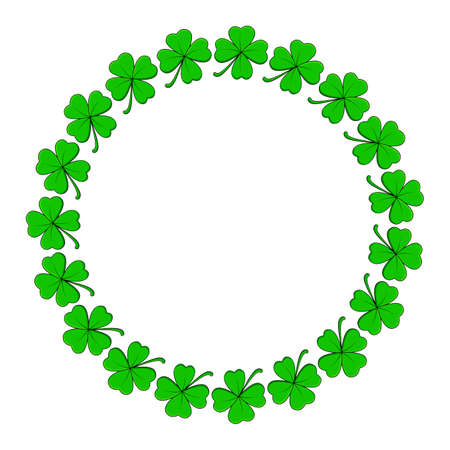 Clover circle frame. Vector design with four leaf shamrock. Holiday saint patrick day background template.