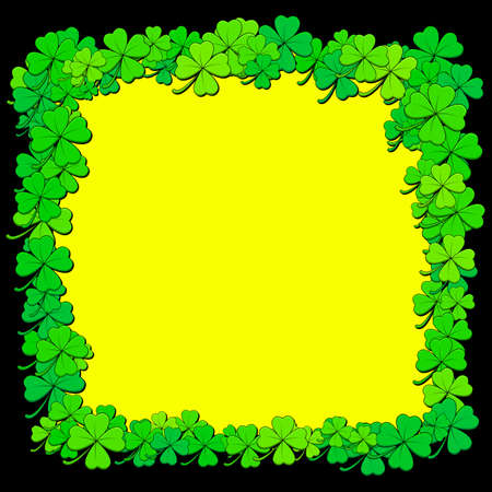 Shamrock or clover background. Vector border with saint Patricks day symbols. Empty frame with copy space. Great for banner, poster or party invitation.