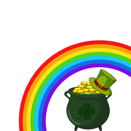 Patricks day backgroud. Great for banner or border with copy space. Illustration contains symbols of rainbow, cauldron with money and green hat.