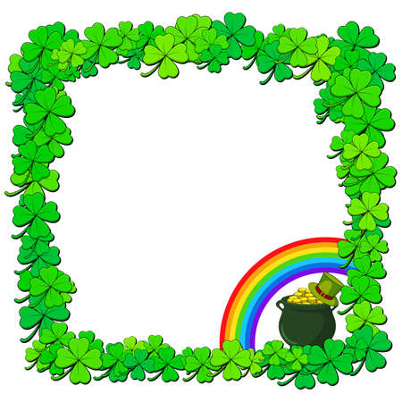 Saint patricks day border. Vector frame with shamrock or clover. Illustration with copy space. Ilustrace