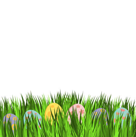 Empty easter card with eggs in pastel colors. Few decorative egg lying on green grass. Holiday vector design on white background.