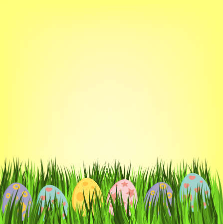 Empty easter card with eggs in pastel colors. Ilustrace