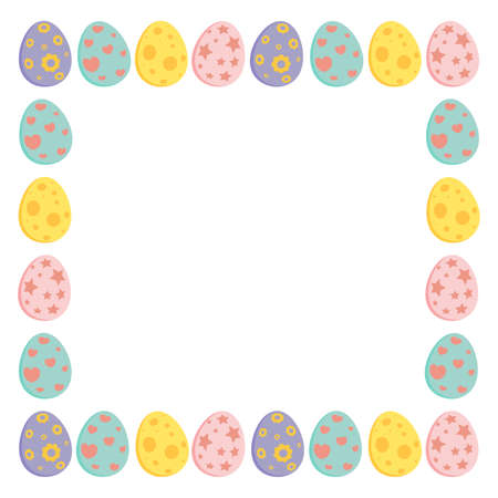 Easter square frame with colorful eggs. Holiday border for greeting card design with copy space. Vector illustration isolated on white background. Ilustrace