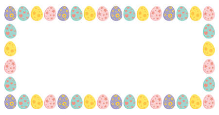 Easter rectangle border with colorful eggs. Holiday frame for greeting card design with copy space. Vector illustration isolated on white background.