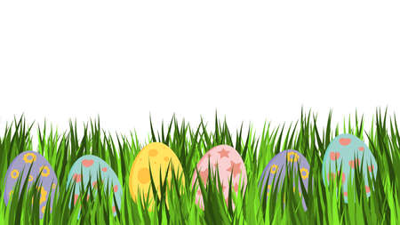 Empty easter card with eggs in pastel colors. Great for banner or invitation template.  Few ornamental egg lying on green grass. Holiday vector design on white background.