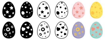 Easter egg collection. Set of spring holiday symbols. Vector illustration isolated on white background. Contains silhouette,outline and pastel color design.