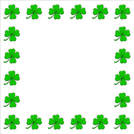 Clover square frame. Four leaf shamrock border with copy space. Vector empty background isolated on white.