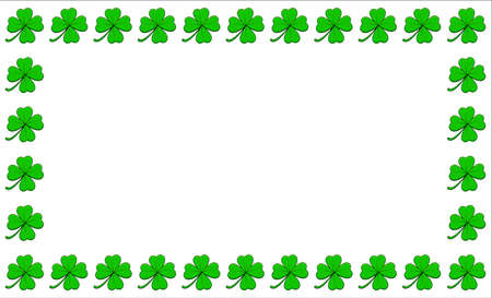 Clover frame. Four leaf green shamrock border with text space. Vector empty background isolated on white. Ilustrace