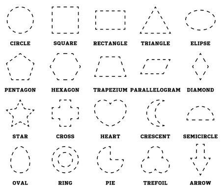 Learn shapes and geometric figures. Preschool or kindergarten worksheet for practicing motor skills. Tracing dashed lines. Vector illustration Ilustrace