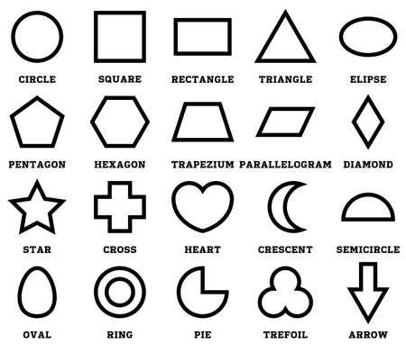 set 2d shapes with their name. outline vector illustration