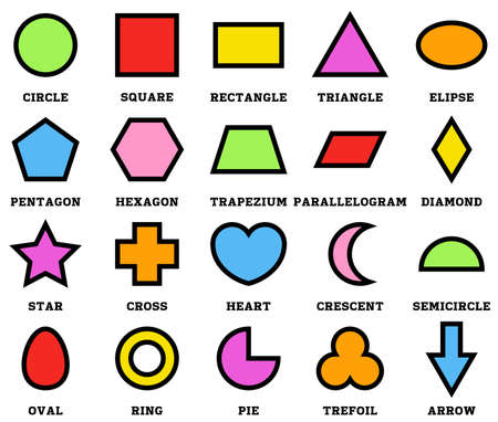 Colorful geometric shapes with their name clip art collection isolated on white background for preschool kids Ilustrace
