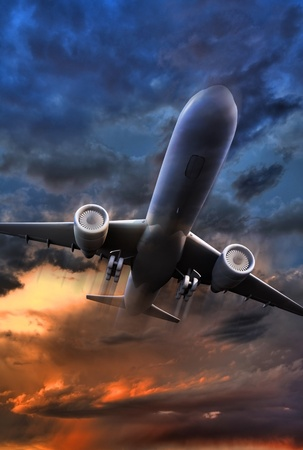 旅客機離陸の図。3 D レンダラ ・ ジェット飛行機離陸の図。カラフルな荒れ模様の空。縦方向のイメージです。 写真素材