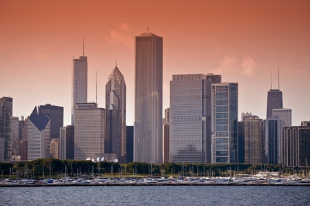East Side ( Lake Side ) Chicago Skyline at Sunset. Horizontal Photo. Chicago, Illinois, USA.