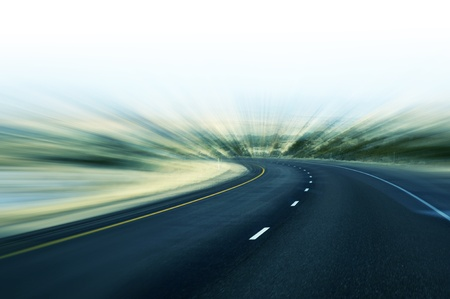 Fast Highway Abstract Motion Blur Highway Background. Transportation Theme. Stock Photo