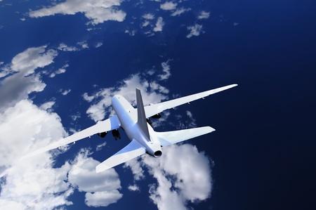 aero: Commercial Airliner on the Sky. Dark Blue Cloudy Sky with Commercial Airliner (Real Sky with 3D Airliner Model Render) Illustration.