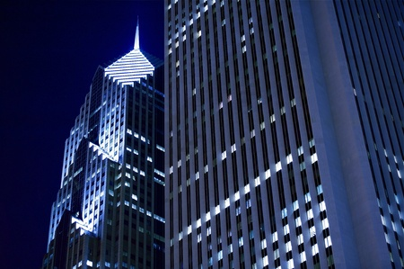 Chicago Skyscrapers at Night. Residential and Commercial Space in the Heart of Chicago. Horizontal Photo. Stock Photo - 10635922