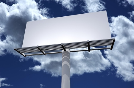 Blank Solid White 3D Billboard on Cloudy Blue Sky. Outdoor Advertising Theme. Stock Photo - 10645009