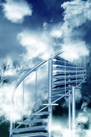 Stairs to Sky. Steel Spiral Stairs to Cloudy Sky. Abstract Illustration. Vertical Design illustration