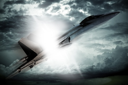 barrier: Breaking Sound Barrier. Supersonic Fighter Jet Breaking Sound Barrier. Profile of the Jet Fighter. MACH 1 Moment. 3D Render Illustration. Military Illustrations Collection Stock Photo